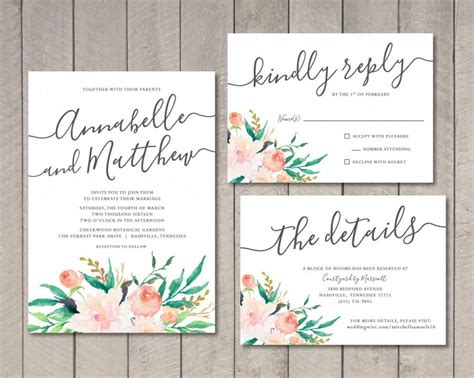 Blush Floral Wedding Invitation RSVP Details Card