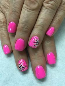 Neon pink with fun accents gel nails | Gel Nail designs ...