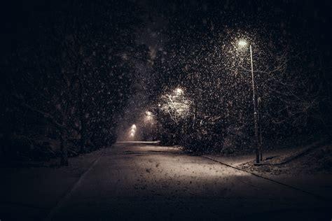 landscape nature street light snow trees night urban