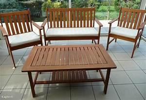 Table Jardin Acacia : salon de jardin table canap et 2 fauteuils ~ Teatrodelosmanantiales.com Idées de Décoration
