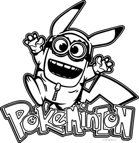 Minion Pikachu Pokeminion Coloring Page Wecoloringpagecom