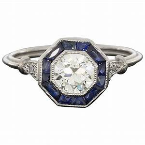 old european cut diamond sapphire halo octagon engagement With octagon wedding ring