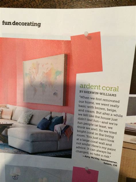sherwin williams ardent coral color  home pinterest