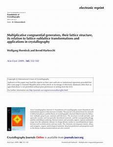 Pdf  Multiplicative Congruential Generators  Their