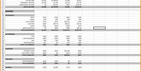 month spreadsheet   month budget spreadsheet