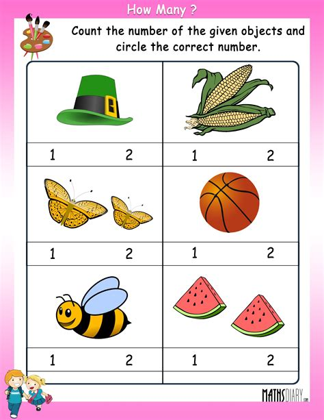 counting lkg math worksheets page 2