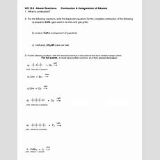 Ws 106 Alkane Reactions Combustion & Halogenation Of Alkanes Worksheet For Higher Ed Lesson