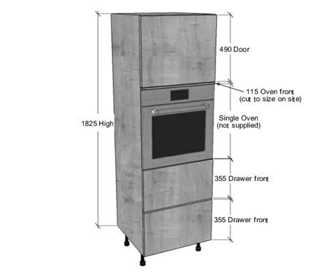 Single Oven Housing 2 Pan Drawers Unit (1825mm High