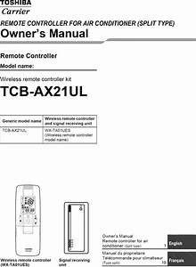 Toshiba Carrier Air Conditioner Remote Control Manual