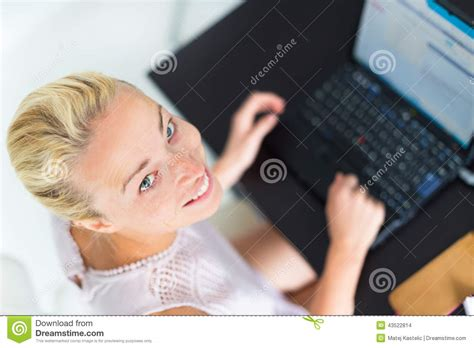 Business Woman Working From Home. Stock Photo