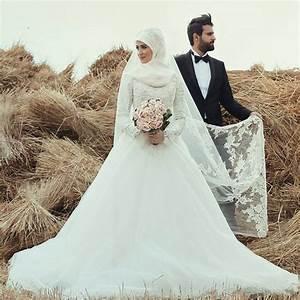romantic long sleeve wedding dress high neck applique lace With femme voilée robe de mariée