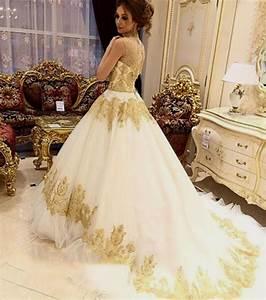 Gold and ivory wedding dress naf dresses for Gold and ivory wedding dress