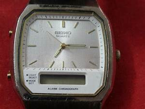 Seiko Quartz H 601 Alarm Chronograph Digital  U0026 Analog Not Working For Parts