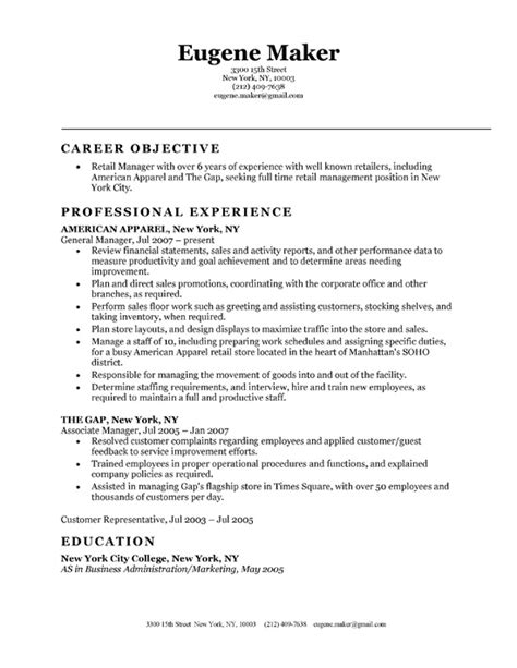 retail resume exles resume exles for