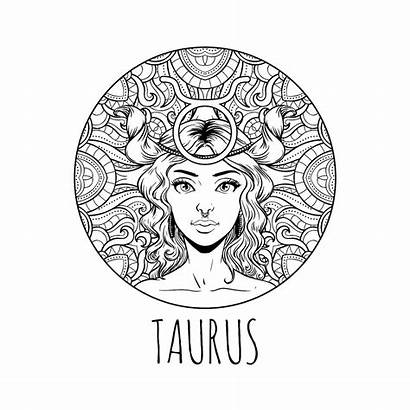 Zodiac Coloring Taurus Sign Adult Horoscope Pages
