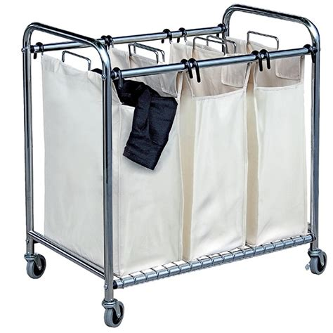 panier a linge sale 3 compartiments chariot 224 linge sale 3 bacs buanderie et salle de bain