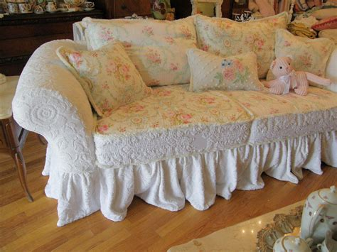 shabby chic slip cover custom shabby sofa chic chenille bedspread by vintagechicfurniture
