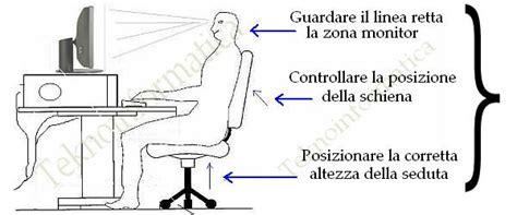 Postura Corretta Scrivania by Come Usare Il Computer Correttamente Ed In Sicurezza