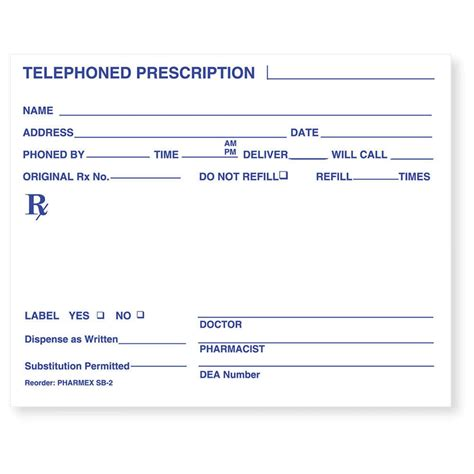 Prescription Pharmacy by Prescription Pad Paper 5 Quot X 4 Quot White 1000 Per Package