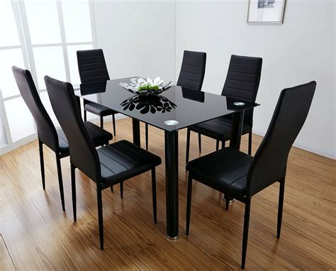 Black Dining Table by Lunar Rectangle Glass Dining Table Set And 6 Black Faux