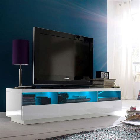 floyd tv stand in white high gloss with 3 drawers and led