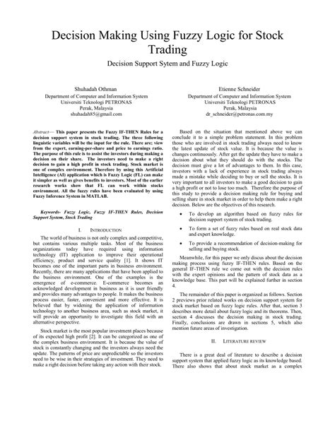 (PDF) Decision making using fuzzy logic for stock trading