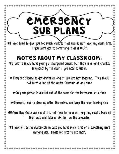emergency substitute lesson plans template free step into 2nd grade with mrs lemons planning for a sub
