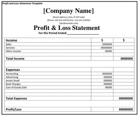 Profit And Loss Statement Template Excel