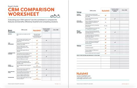 crm comparison worksheet nutshell free crm resources
