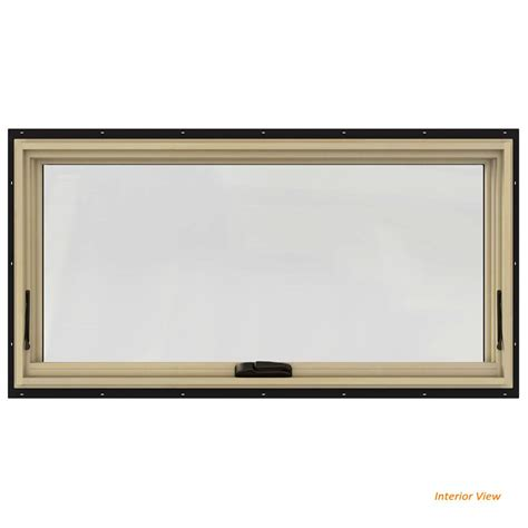 jeld wen        series black painted clad wood awning window  natural interior