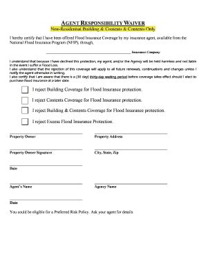 agent responsibility waiver fill  printable