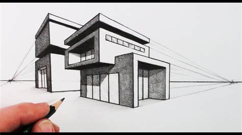 Modernes Haus Zeichnung by How To Draw A House In Two Point Perspective Modern House