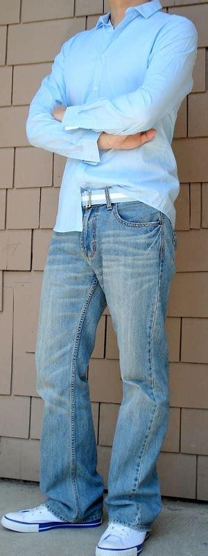 light blue dress shoes mens blue dress shirt blue ribbon belt light blue jeans white