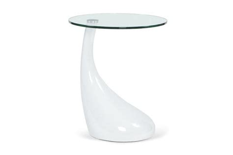 table bout de canapé en verre design table basse design goutte blanc table laque blanc