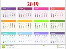 Calendar 2019 stock vector Illustration of different