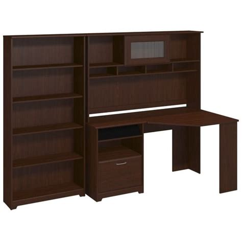 corner desk with shelves bush cabot corner desk with hutch and 5 shelf bookcase in