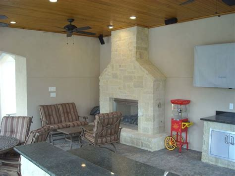 pool house  outdoor kitchen fireplace  cypress