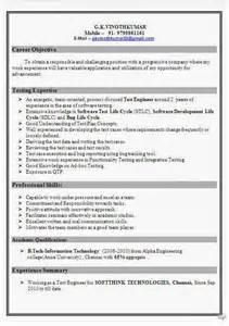 resume format for software testing software test engineer resume format