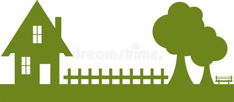 Silhouette Of House And Garden Stock Vector