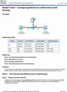 6 3 3 6 Packet Tracer Configuring Router On A Stick Inter