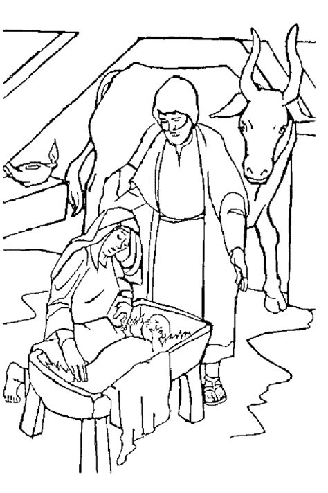Kleurplaat Kerstkribbe by Bible Coloring Pages