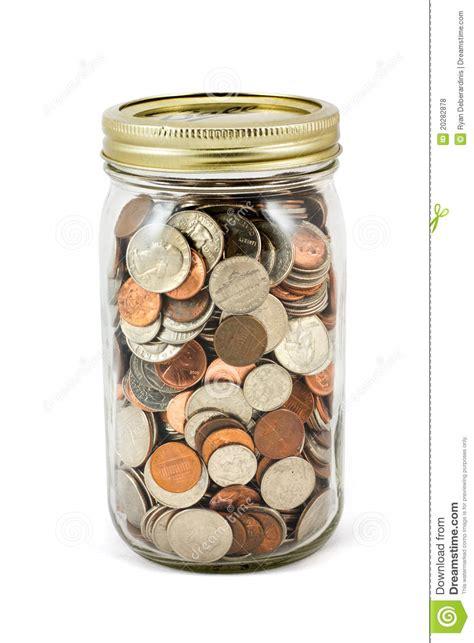 jar full  change  white background stock photo image