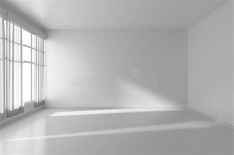 Weißer Leerer Raum Mit Flachen Wänden, Weißer Boden Und