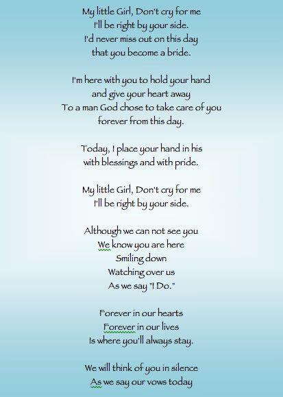 poem     program   brides father passed