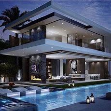 Rich Famous Modern Mansion  Checkout @luxclubboutique