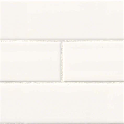 4 in x 16 in white glossy subway tile