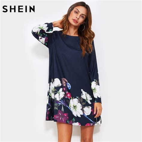 Boat Neck Fall Dress by Shein Fall Dress Flower Print Flowy Dress Navy Boat Neck
