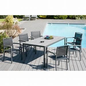 Salon Jardin Aluminium : salon de jardin en aluminium table rectangulaire 180cm 6 fauteuils palmyre pier import ~ Teatrodelosmanantiales.com Idées de Décoration
