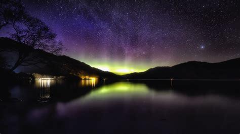 Download Wallpaper 1920x1080 Aurora Starry Sky Night