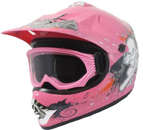 pink motocross helmet childrens kids motocross helmet goggles dirt bike quad
